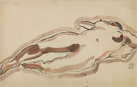 lady lying down by sanyu