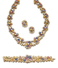 demi-parure comprising a necklace, a bracelet, and a pair of matching earrings (set of 3) by adler
