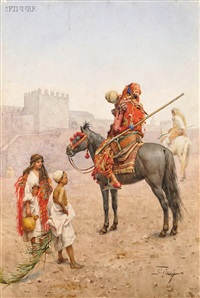 arab horseman pausing to quench his thirst by giulio rosati