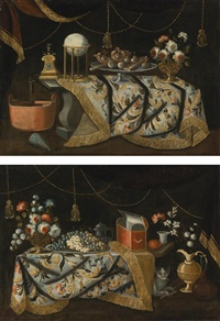 still life with flowers, fruit and sweetmeats, with a cat (pair) by francesco fieravino (il maltese)