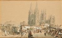 marché sur fond de cathédrale de burgos by françois antoine bossuet