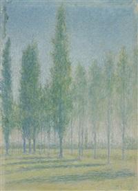 paysage aux peupliers by achille laugé