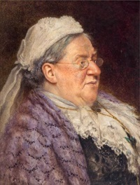 portraits of elderly ladies, bust-length (a pair) by arthur charles shorthouse
