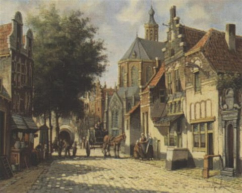 dutch street scene by pieter cornelis steenhouwer