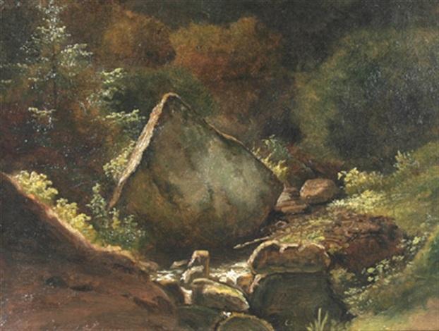 waldlandschaft mit findling by georg heinrich crola