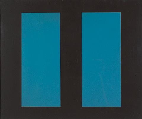 untitled blue vertical lines by john mclaughlin