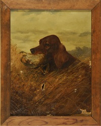 irish setter with a quail by louis contoit