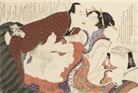 four oban shunga prints from the album ehon tsui no hinagata (patterns of loving couples), depicting love-making scenes with four different couples including a geisha and her client (4 works) by katsushika hokusai