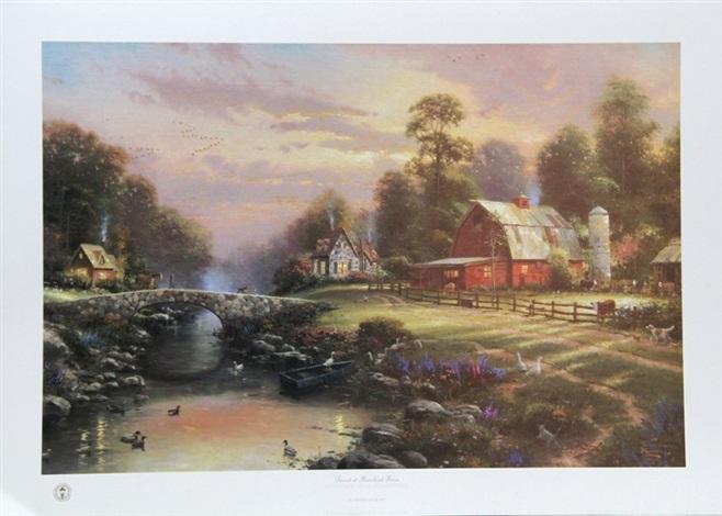 sunset at riverbend farm by thomas kinkade