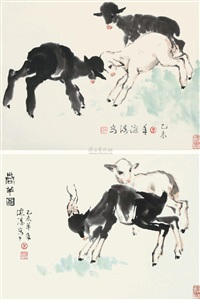 三羊图 春羊图 (various sizes; 2 works) by li haitao