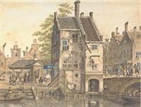 a capriccio view of a dutch village by johannes huibert (hendric) prins