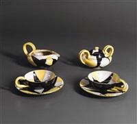 servizio da tè con decoro a rondini by manlio trucco