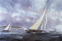 britannia approaching needles light, 1934, romping along in a fresh southerly by robert scott