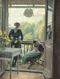 gespräch auf dem balkon (der lange bräutigam) by rené reinicke