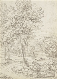 a landscape by a river with buildings in the distance by abraham genoels