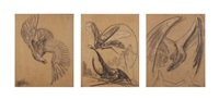 an eagle; and a dragonfly with a beetle; and a dragon (10 works) by willem van konijnenburg