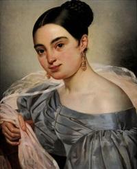 portrait de jeune femme au voile rose by pierre antoine augustin vafflard