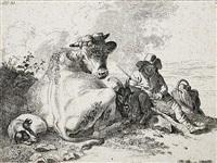 junger hirte mit kuh, ziegenbock und hund by friedrich (maler müller) müller