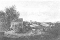 barnyard scene by c. alexander