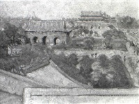 sketch from wall looking towards forbidden city, peking by hope smith