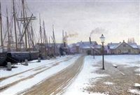 a winter evening by the docks by valdemar albertsen