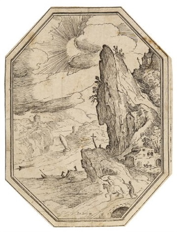 landschaft mit steilem felsen rechts from landschaften in oktogonformat by paul bril