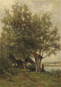 fishing under the willows by jan willem van borselen