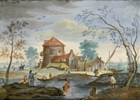 flusslandschaft mit figuren und booten (+ another similar; pair) by charlotte anne louise (baronne de brion) amalie