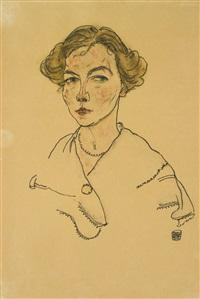 porträt einer frau (lilly steiner) (portrait of a woman (lilly steiner)) by egon schiele