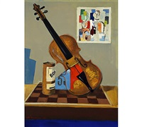 still-life with a fiddle by erkki adolf koponen