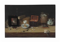 a landscape painting in the style of jan breughel i, lacquered and wooden boxes, wan-li porcelain, glassware, coins, shells and other objects on a ledge by c semmens