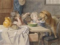 bauernstube mit kindern und hund am tisch by heinrich rettig