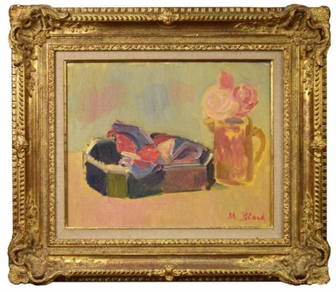 still life of roses in a jug and an ornate bowl by maurice blond on