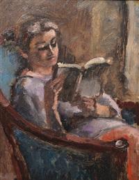 femme à la lecture by maurice asselin