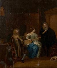 femme jouant du luth et deux hommes dans un intérieur by anthonie palamedesz