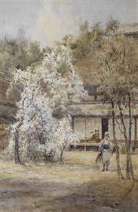 figure in a japanese landscape by kin'ichiro ishikawa