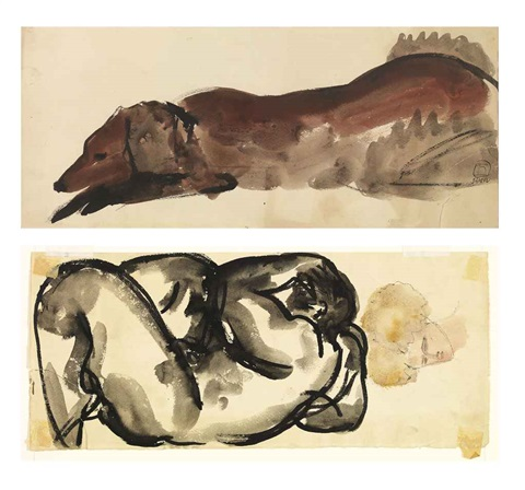 reclining nude a dog by sanyu