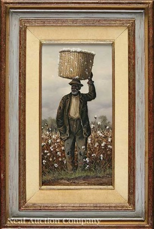 negro man in cotton field with basket on head by william aiken walker