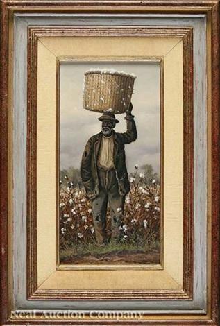 negro man in cotton field with basket on head by william aiken walker