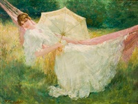 fillette au parasol dans un hamac by edouard verschaffelt