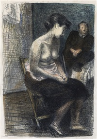 in studio (+ 2 others; 3 works) by raphael soyer