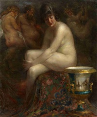 nude with a rubens painting by vitaly gavrilovich tikhov