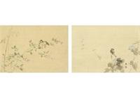 morning glory and small bird・hagi and small bird (双幅) by gyokudo kawai
