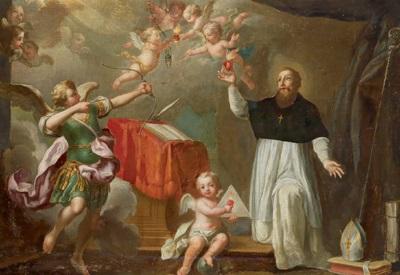 der hl kirchenvater augustinus am schreibpult mit einem engel der einen pfeil auf das flammende herz abschießt by austrian school 17