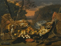 a still life with game, hunting gear and two dogs by jan van kessel