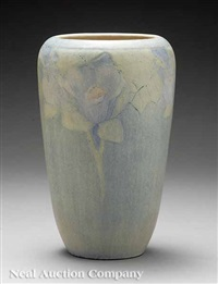 vase with mallow branches design by cynthia pugh littlejohn