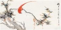 红羽绶带 横披 设色纸本 by jiang hanting