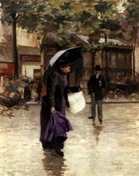 a rainy day in paris by etienne-albert-eugène joannon