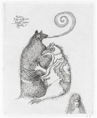badger causes table to fly * badger takes medium-shadow (3 works, various sizes and conditions) by leonora carrington