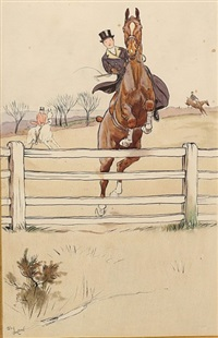 cheval et cavalier franchissant un obstacle by cecil charles windsor aldin